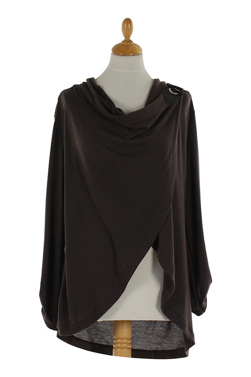 Brown Wrap With Side Button Closure
