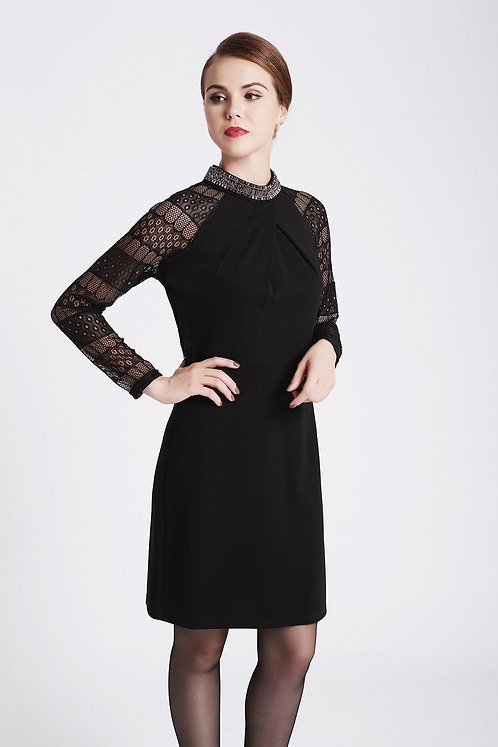 Black Cocktail Dress With Lace Sleeves