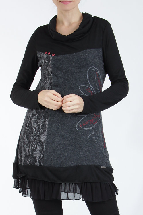 Woolen Mix Tunic With Red Flower and Lace