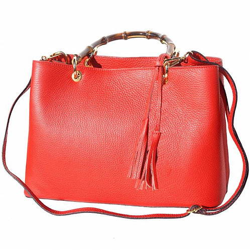 """Veronica"" Leather Handbag With Bamboo Handles In Red"