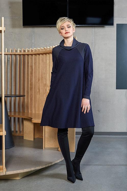 Blue/White A-Line Polka Dot Dress With Pockets