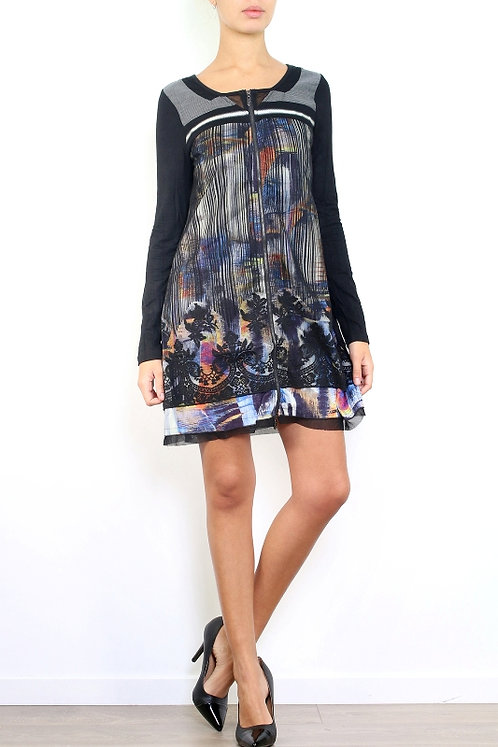 A-Line Dress With Front Zipper And Mesh Graphic Front