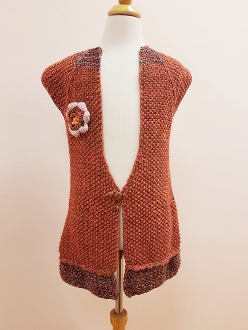 Open Vest/Cardigan With Button and Flower