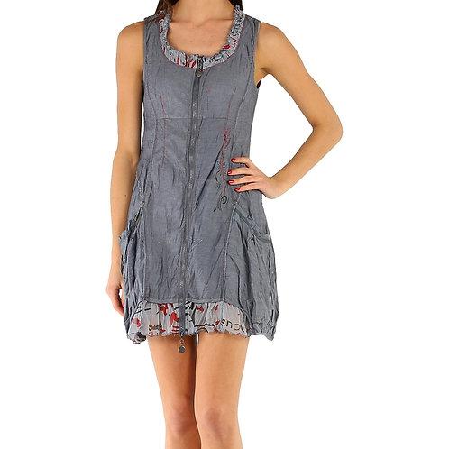 Grey Cotton Mix Dress/Tunic With Pockets