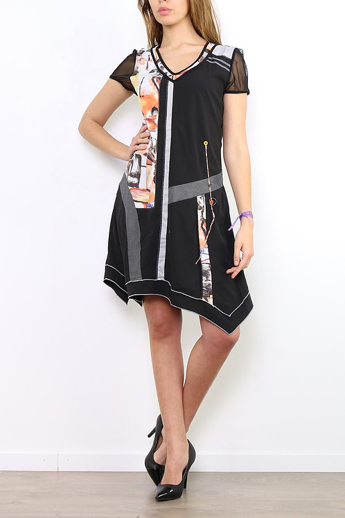 A-Line Dress With Lining and Short Mesh Sleeves