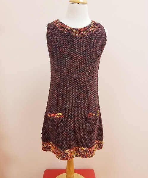 Maroon Sleeveless Dress/Sarafan With Pockets
