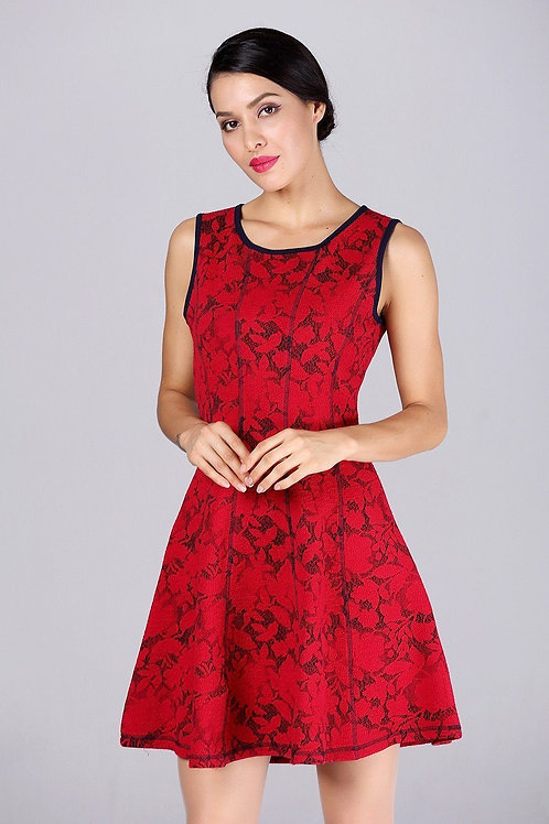 A-Line Red Dress With Blue Trim