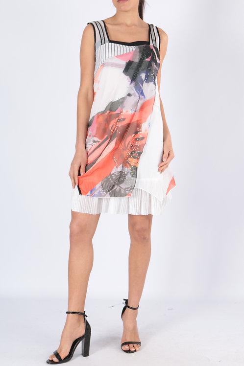 Sleeveless Summer Dress With Mesh Detail