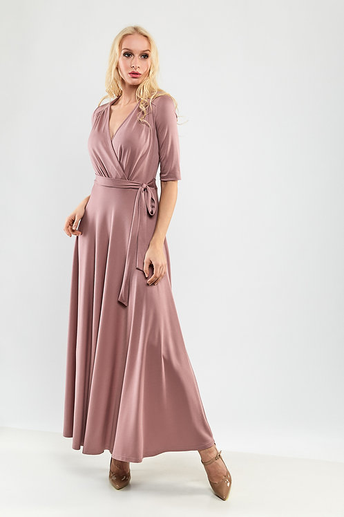 Maxi Dress With Belt and 3/4 Sleeves