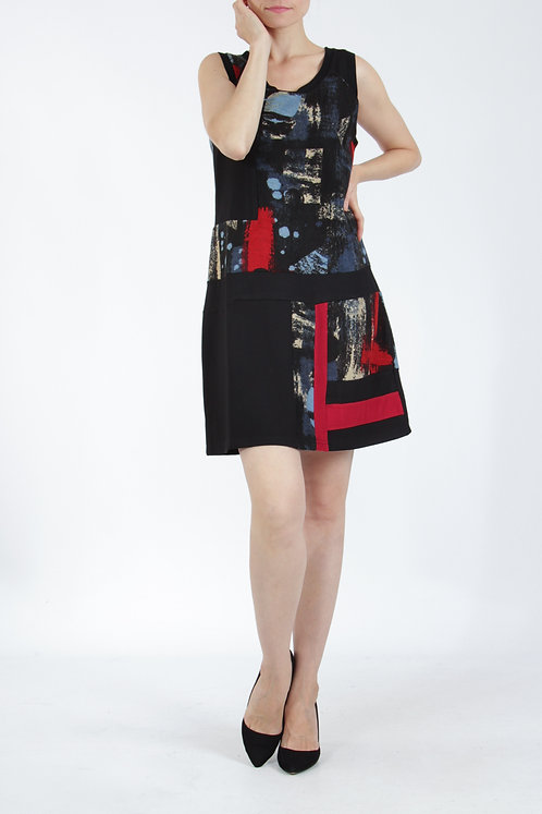 Sleeveless Dress With Dropped Waistline