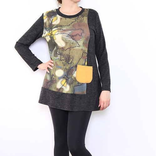 Long Sleeve Top/Tunic With Yellow Pocket Detail