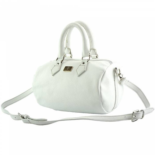 White Leather Handbag With Long Strap