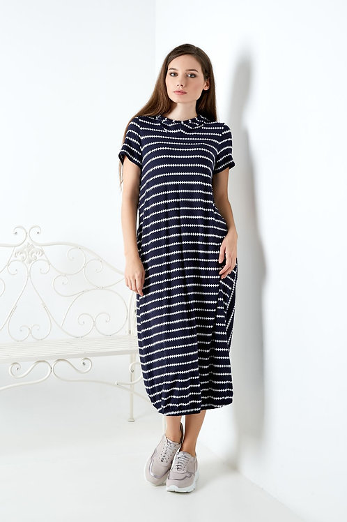Midi Dress With Hood and White Stripes
