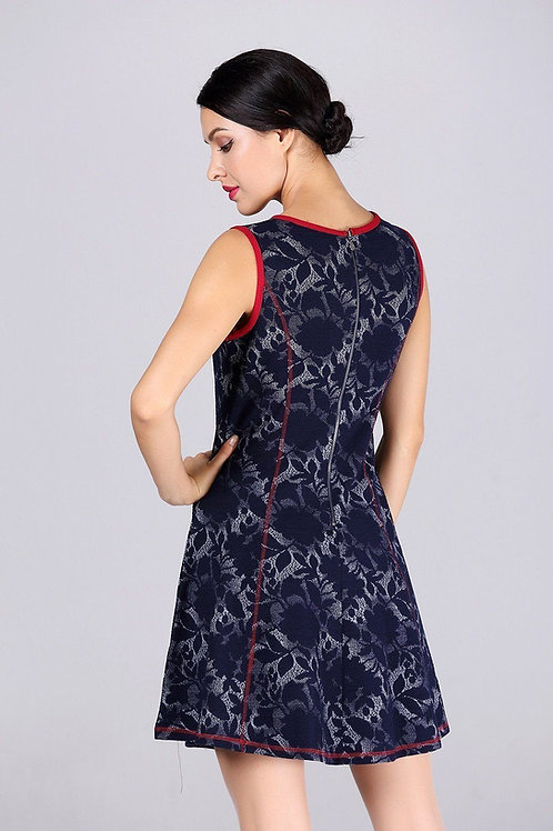 A-Line Blue Dress With Red Trim