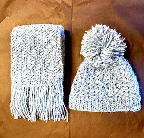 Pom Pom Winter Hat and Scarf Set - Handknitted