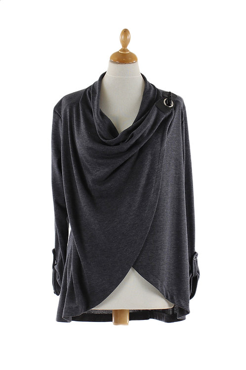 Grey Wrap With Side Button Closure