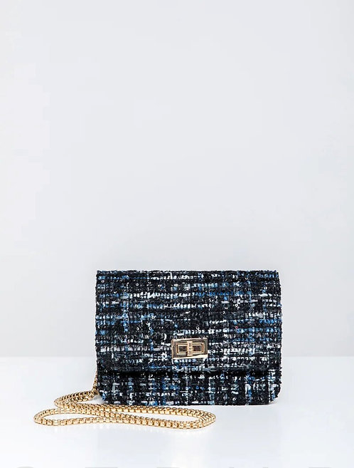 Boucle Evening Bag With Long Strap