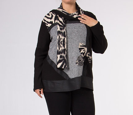 Top and Scarf Ensemble With Flower Detail