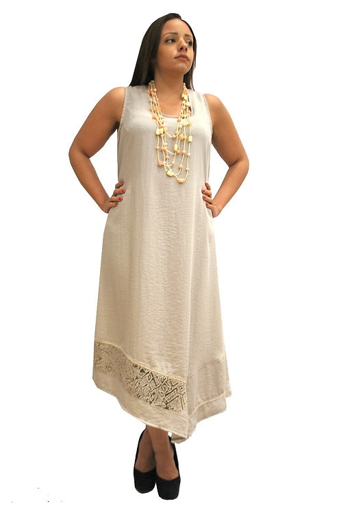 Asymmetrical Linen Dress in Taupe