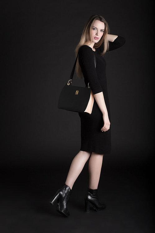 """Gentlady"" Leather Handbag In Black/Cream By CFONTAN"