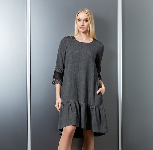 Grey Dress With 3/4 Lace Sleeves