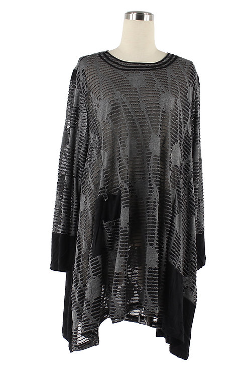 Semi-Sheer Long Tunic With Pocket