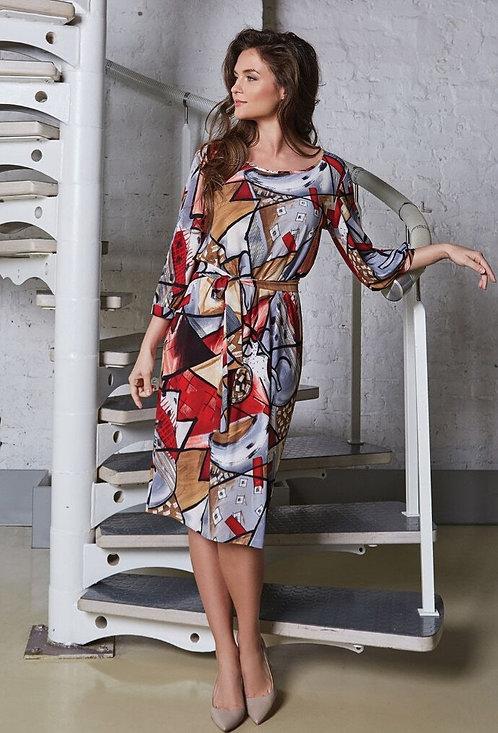 Multi-Color Dress With Belt