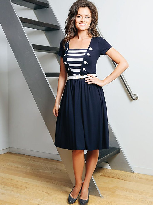 Striped Blue Dress With Belt