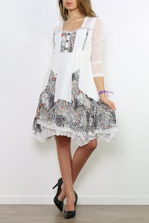 A-Line Midi Dress With Mesh Sleeves