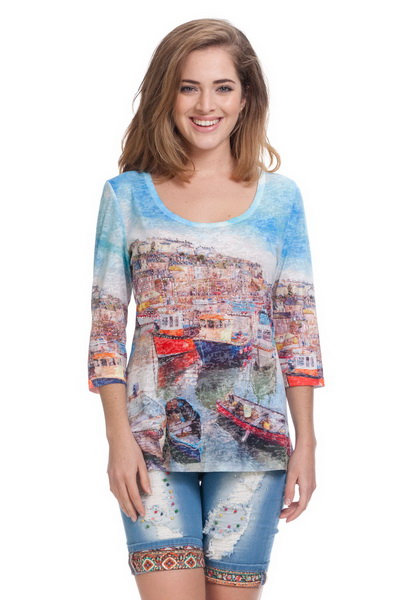 Blue Graphic Top With Rhinestones