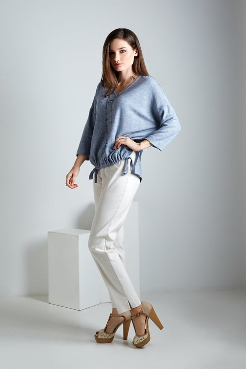 Blue Top With 3/4 Sleeve