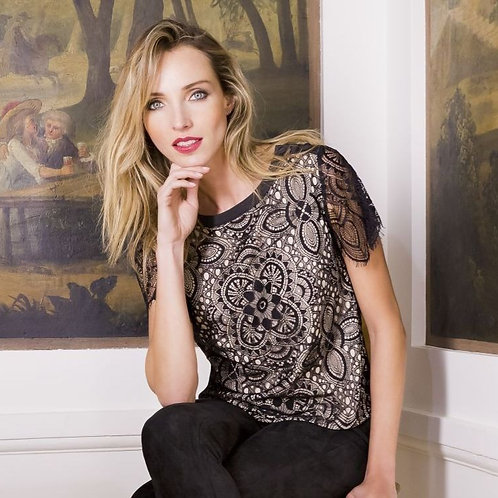 Lined Black Top With Drop Down Lace Sleeves