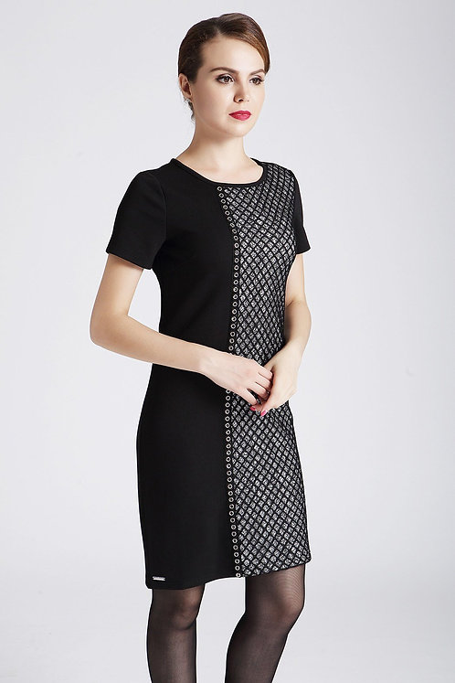 Black Short Sleeve Dress With Overlay Lace