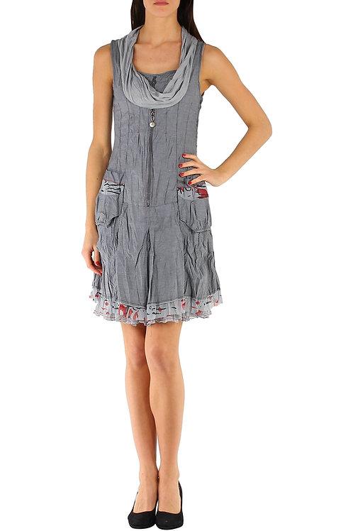 Crinkled Sleeveless Cotton Mix Summer Dress