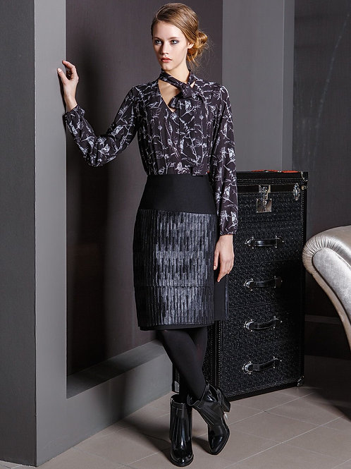 Black Skirt With Leatherette Detail