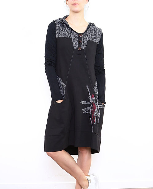 Dress With Hood and Two Pockets