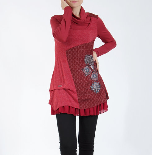 Cotton Mix Tunic With Cowl Neck and Side Detail