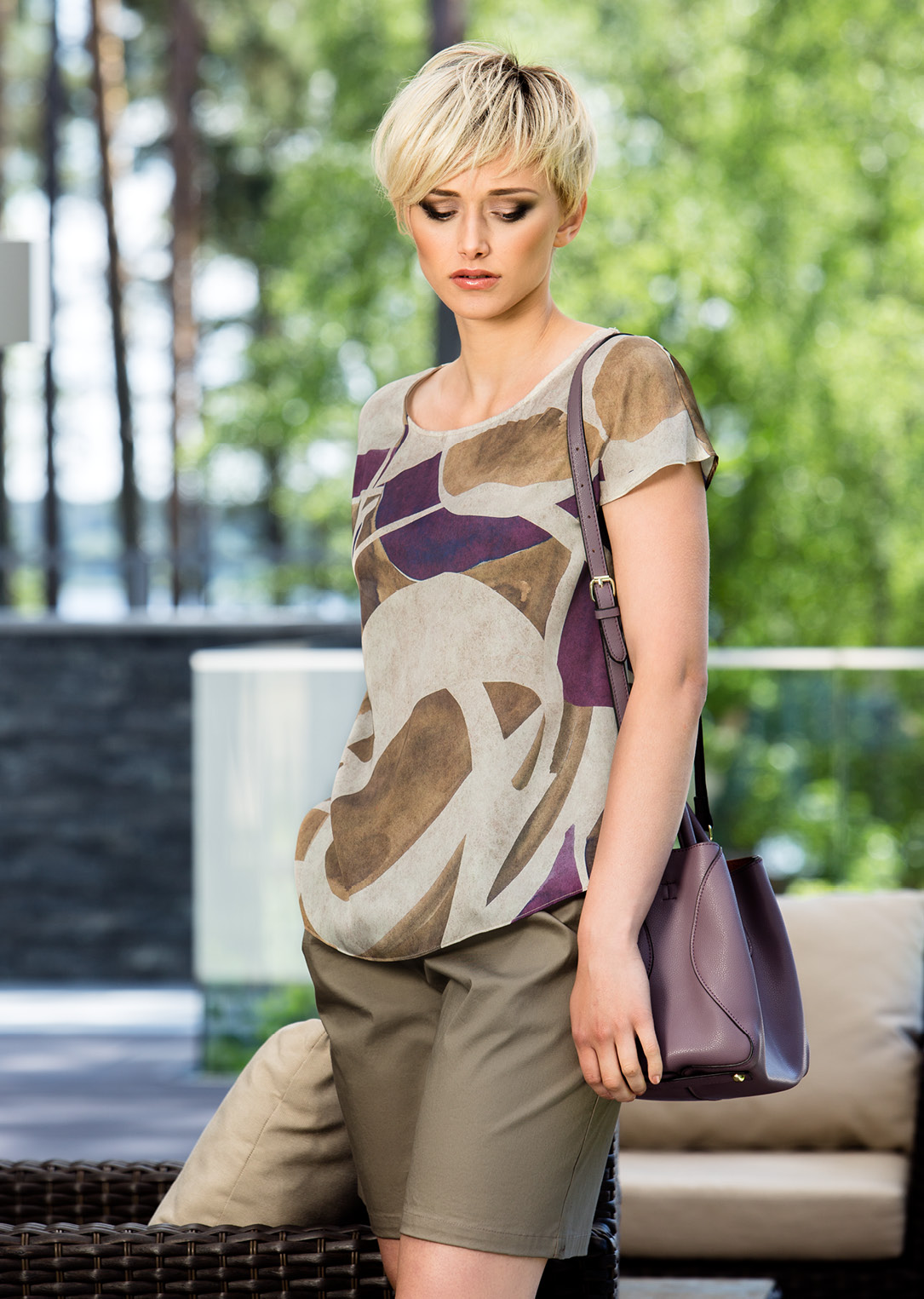 Multi Color Top With Short Sleeve