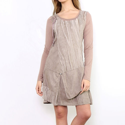 Eco Suede Layered Dress in Taupe