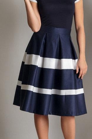 Blue/White Midi A-Line Skirt