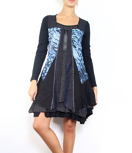 Blue/Black Fully Lined Dress