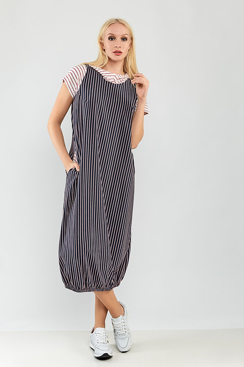 Long Striped Dress With Pockets and Hood
