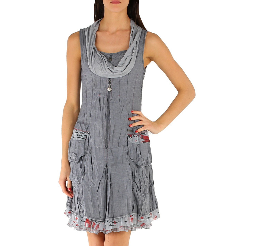 Crinkled Sleeveless Cotton Mix Summer Dress