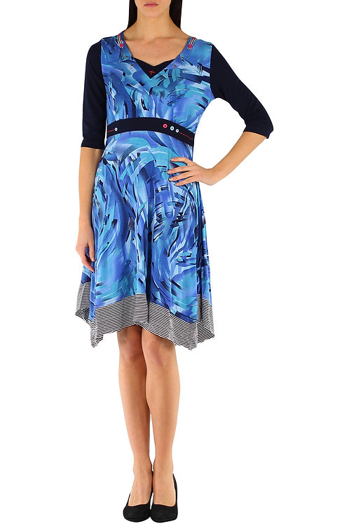 Cotton A-Line Dress With 3/4 Sleeve