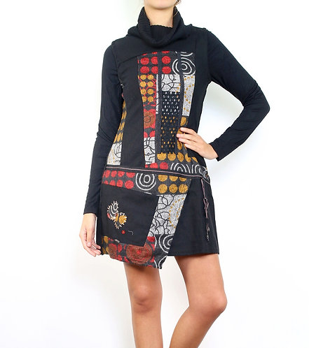 Woolen Mix Dress/Tunic With Front Patch Work