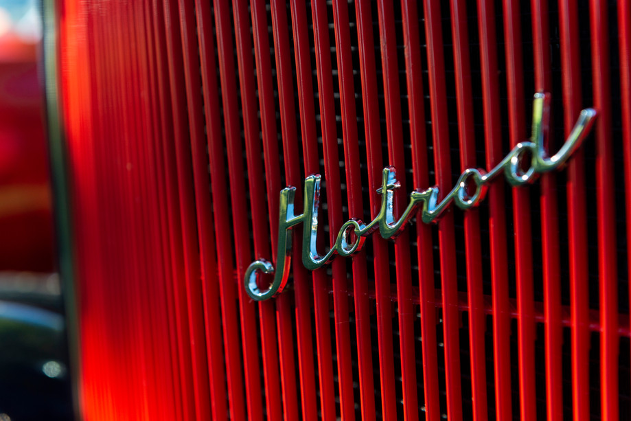 The grill of a 1932 Ford three window coupe at the MATC car show on Saturday in Manhattan, Kansas. The car belongs to Bill Schroeder of Junction City. The Manhattan Area Technical College hosts it's third annual car show and fall celebration to bring attention to it's automotive technology collision programs. Upwards of 50 cars were on display.