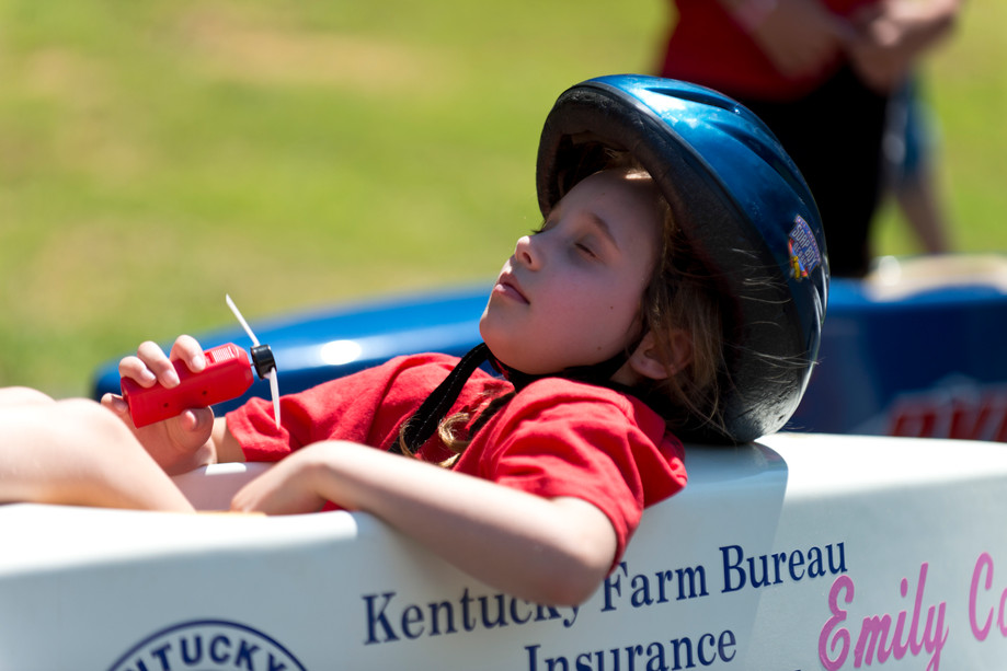 Emily Calvert tries to stay cool in her car at the top of hill at the Ben Hawes Gravity Race Track on Saturday in Owensboro on June 12, 2016. Racers dealt with temperatures in the mid-90's all day. Racers from several states came to Ben Hawes Park in the hopes of qualifying for the world championships in Akron in July.
