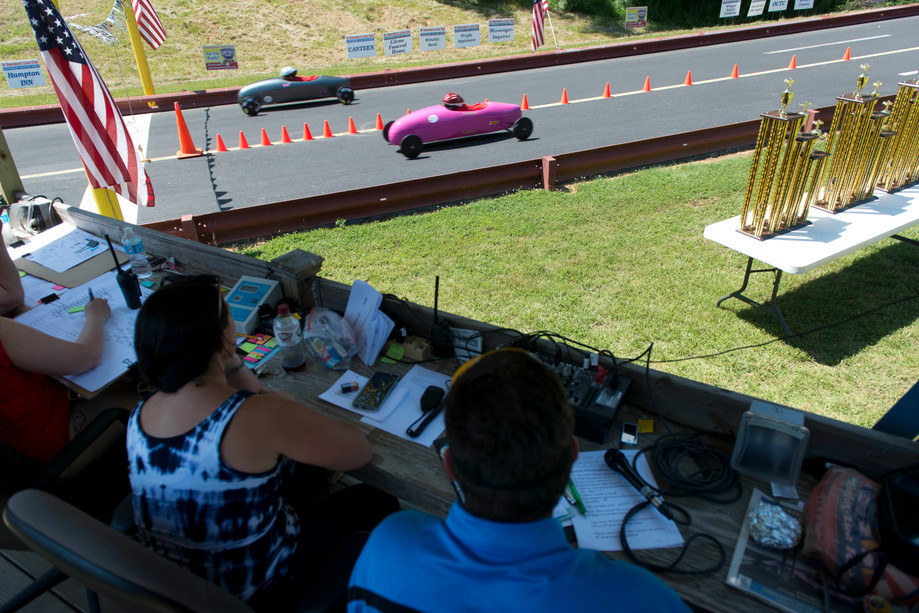 Judges watch on as the heat races take place at Ben Hawes Gravity Race Track on Saturday in Owensboro on June 12, 2016. Racers from around the region converged on the track in the hopes of qualifying for the world championships in Akron in July.