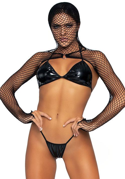 Bikini top, g-string & shrug