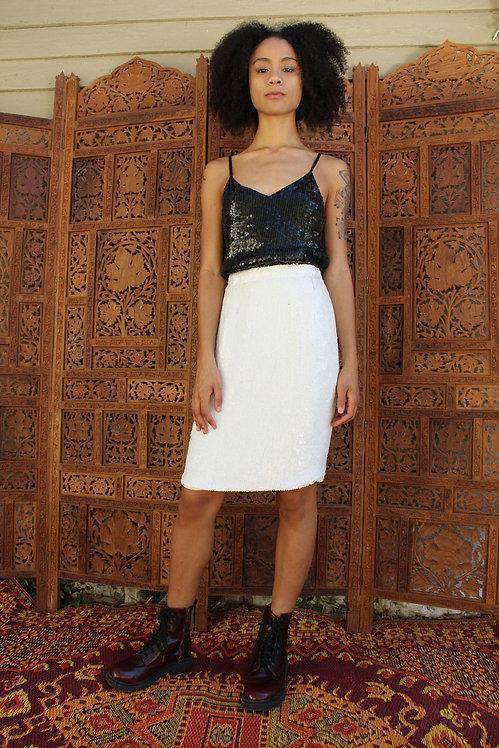 90s Lillie Rubin White Sequin Pencil Skirt w/Tags